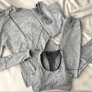 NWT Gymshark Grey Fleur Textured Set of 4